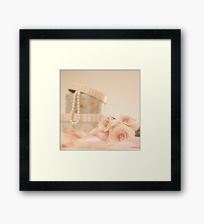 Pink Roses and Pearls  Framed Print