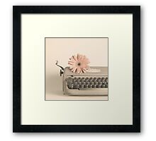 Soft Typewriter and Pink Flower  Framed Print
