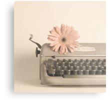 Soft Typewriter and Pink Flower  Metal Print
