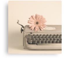 Soft Typewriter and Pink Flower  Canvas Print