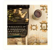 Typewriter, Tea and Dried Flowers  Art Print