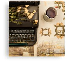 Typewriter, Tea and Dried Flowers  Canvas Print