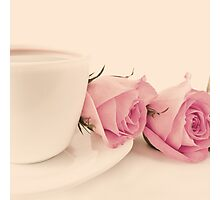 Coffee and Roses  Photographic Print