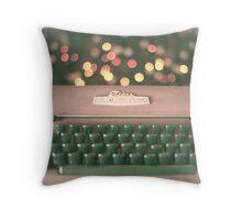 Typewriter and Magic Lights  Throw Pillow