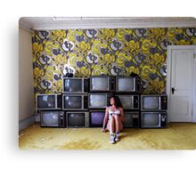 Self Portrait- Abandoned Hotel, TV room Canvas Print