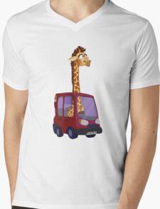 GIRAFFARI Mens V-Neck T-Shirt