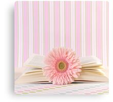 Pink Flower and Open Book  Canvas Print