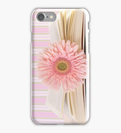 Pink Flower and Open Book  iPhone Case/Skin