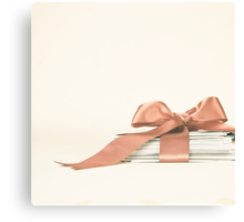 Vintage and Romantic Letters envelop in a Pink Ribbon  Canvas Print