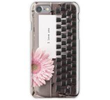 Pink Flower and Typewriter  iPhone Case/Skin