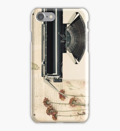 Retro Typewriter and Dried Flowers  iPhone Case/Skin
