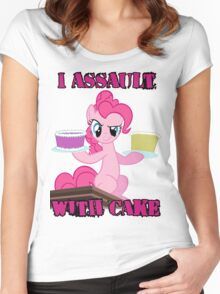 Pinkie Pie assaults with cake (My Little Pony: Friendship is Magic) Women's Fitted Scoop T-Shirt