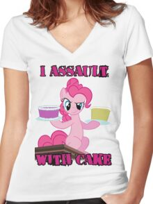 Pinkie Pie assaults with cake (My Little Pony: Friendship is Magic) Women's Fitted V-Neck T-Shirt