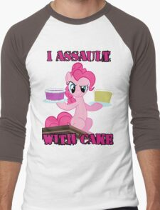 Pinkie Pie assaults with cake (My Little Pony: Friendship is Magic) Men's Baseball ¾ T-Shirt