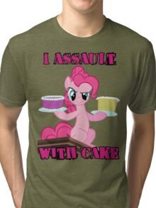 Pinkie Pie assaults with cake (My Little Pony: Friendship is Magic) Tri-blend T-Shirt