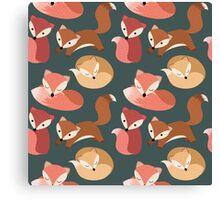 Cute Woodland Fox Seamless Pattern Canvas Print