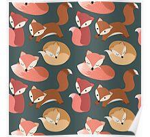 Cute Woodland Fox Seamless Pattern Poster