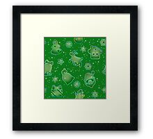 Seamless pattern for Christmas on green background Framed Print