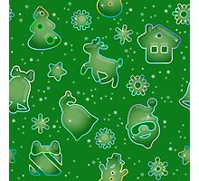 Seamless pattern for Christmas on green background Photographic Print