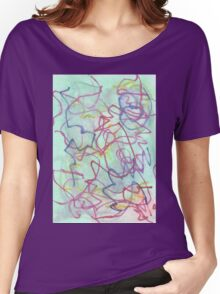 aqua bleed with pink and blue scribbles Women's Relaxed Fit T-Shirt