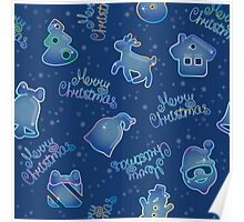 Seamless pattern for Christmas on blue background Poster