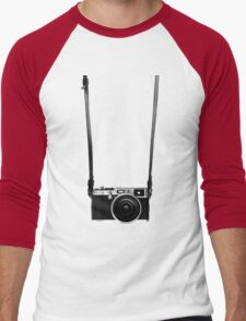 Vintage retro 35mm metal rangerfinder camera on isolated white background. Men's Baseball ¾ T-Shirt