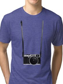 Vintage retro 35mm metal rangerfinder camera on isolated white background. Tri-blend T-Shirt