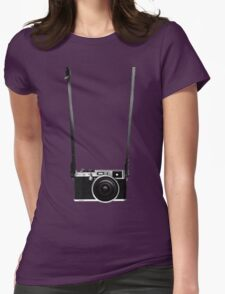 Vintage retro 35mm metal rangerfinder camera on isolated white background. Womens Fitted T-Shirt