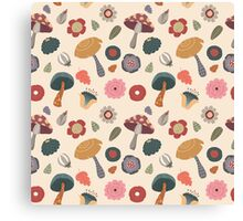 Woodland Floral Seamless Pattern Canvas Print