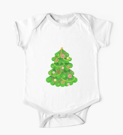 Christmas tree with sweets and toys in white background One Piece - Short Sleeve