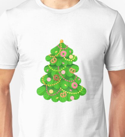 Christmas tree with sweets and toys in white background Unisex T-Shirt