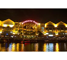 Shimmer of the water at Clarke Quay in Singapore Photographic Print