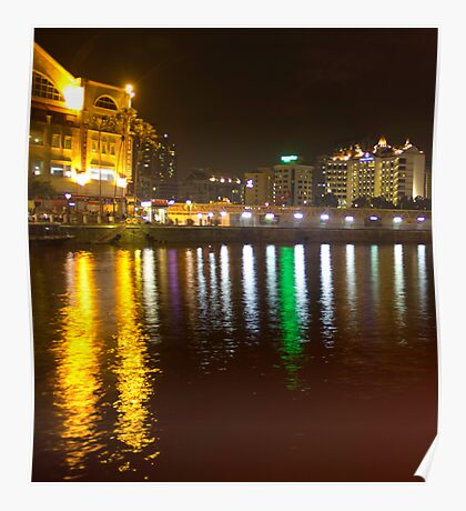 Water and lights at Clarke Quay in Singapore Poster