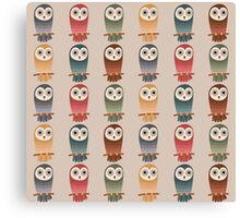 Woodland Owls Seamless Pattern Canvas Print