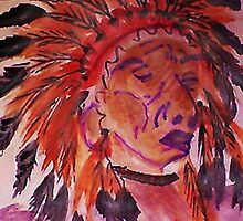 The Chief, watercolor by Anna  Lewis