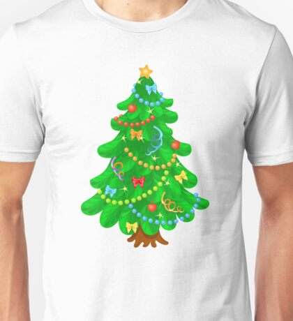 Christmas tree with bright toys in white background Unisex T-Shirt