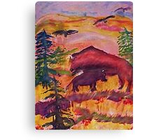 Let the Buffalo roam, Southwestern theme series, watercolor Canvas Print