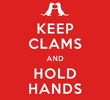 Keep Clams and Hold Hands (Otters Holding Hands) Womens Fitted T-Shirt