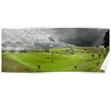 Golfers at the golf course Poster