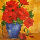 Red Flowers in A Blue Vase by Meaghan Louise