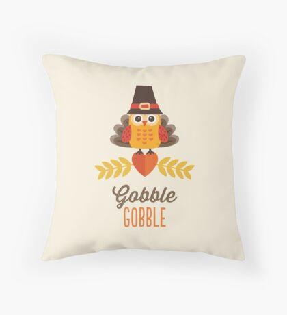 Thanksgiving Owl in Turkey Costume and Pilgrim Hat Throw Pillow