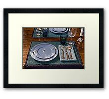 Three Stooges Table China Framed Print