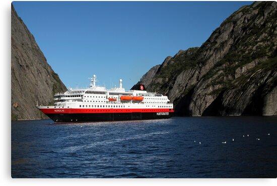 Hurtigruten Ship in Troll Fjord by Laurel Talabere