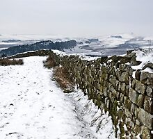 Winter snow over Hadrian's Wall at Hotbank Crag by Joan Thirlaway