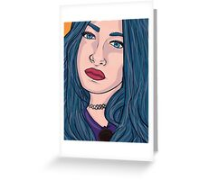 Blue Hair 90's girl Greeting Card