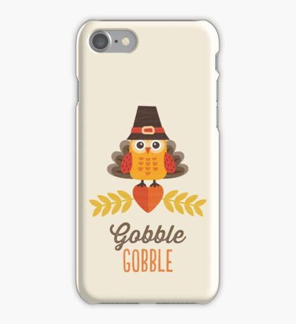 Thanksgiving Owl in Turkey Costume and Pilgrim Hat iPhone Case/Skin