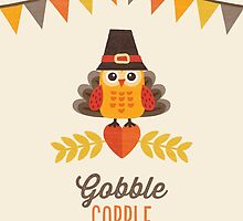 Thanksgiving Owl in Turkey Costume and Pilgrim Hat by daisy-beatrice