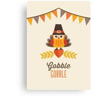 Thanksgiving Owl in Turkey Costume and Pilgrim Hat Canvas Print