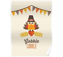 Thanksgiving Owl in Turkey Costume and Pilgrim Hat Poster