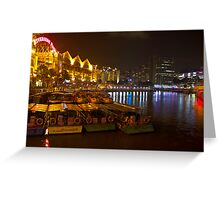 Boats moored to the side at Clarke Quay in Singapore Greeting Card